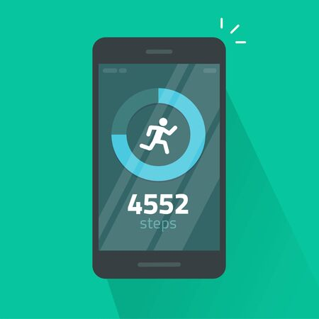Run or fitness steps tracker app on mobile phone vector isolated flat cartoon