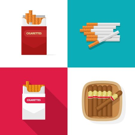 Cigaret pack carton box with cigarettes and luxury cuban cigars vector set flat cartoon isolated clipart