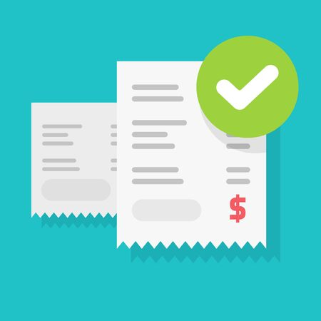 Success bill payment or approved money transaction vector illustration flat cartoon, finance receipt invoice with checkmark or tick as successful pay or verification isolated