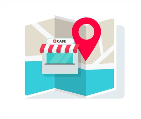 Cafe shop or store location with pin pointer and navigation map vector illustration flat cartoon, idea of restaurant position or place geo location sign isolated