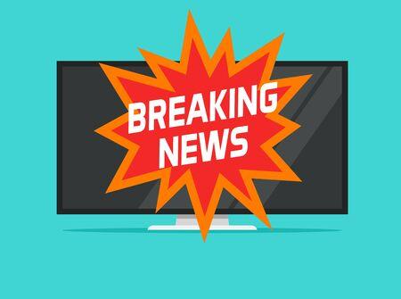 Breaking news sign on tv screen vector illustration flat cartoon, concept of hot news television symbol