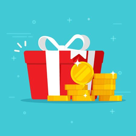 Gift box with money win present or cash happy present vector illustration flat cartoon, idea of online award or bonus achievement as giveaway isolated