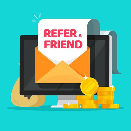 Refer a friend email message online with earning money affiliate program vector illustration flat cartoon, concept of internet motivation marketing technology