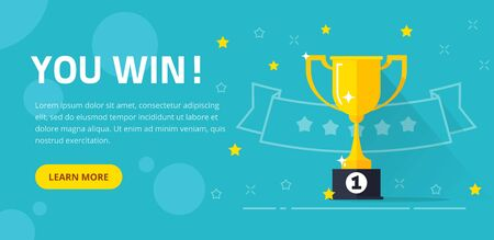 Winner success award web banner or competition achievement cup win background vector illustration flat cartoon, idea of first place prize flyer or contest champion trophy website backdrop template
