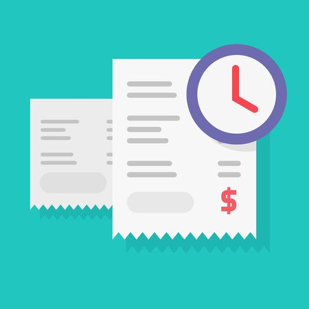 Payment schedule time notification reminder or money budget transaction waiting vector, flat cartoon timer or clock with paper receipts, annual tax pay time awaiting Ilustração