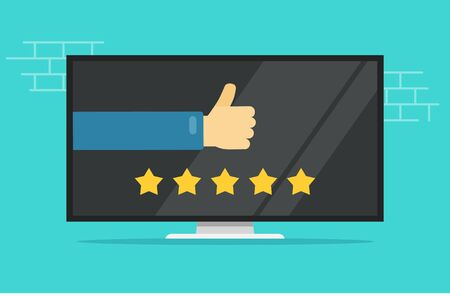 Reviews rating or testimonials feedback online on computer or tv screen vector flat cartoon, concept or pc film or television movie rate stars with thumb up hand modern banner design isolated