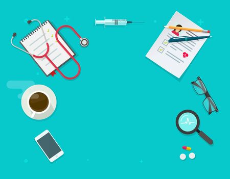 Medical clinic working table desk or doctor place of work top view copy space vector illustration flat cartoon, modern design of doctor workplace or workspace above with patient health documents