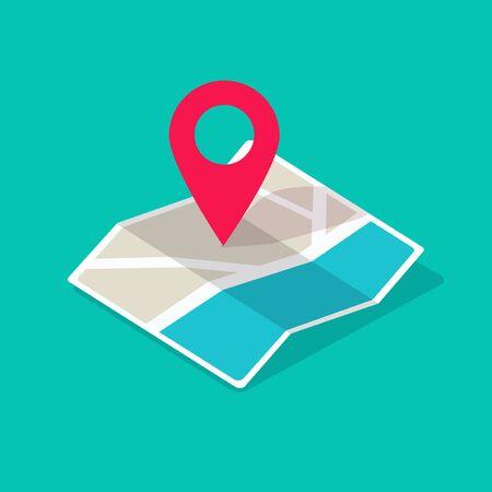 Icona della mappa isometrica con il fumetto piatto dell'illustrazione di vettore del puntatore del perno di posizione di destinazione, concetto di simbolo di posizione di GPS o pittogramma del percorso di direzione con la progettazione moderna della via della strada della città