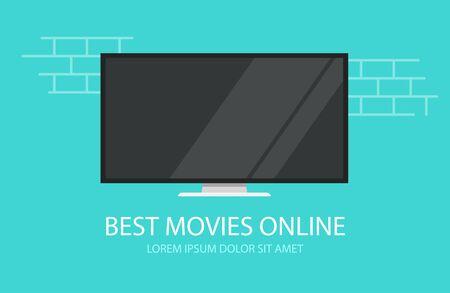 Online video movies or tv cinema vector flat cartoon illustration tv screen banner modern design Ilustrace