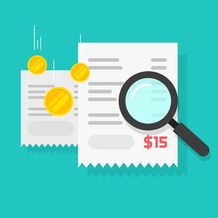 Budget billing calculation or money payment audit check vector flat cartoon illustration, paper receipts with money and magnifying glass researching fraud pay modern design