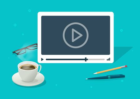 Video watching on abstract isometric working desk table vector illustration flat cartoon, idea of webinar or movie online, internet digital courses or study modern design