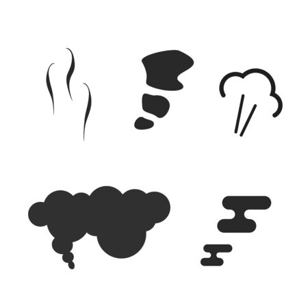 Air puff pressure smoke icons set or comic steam explosion collection vector flat cartoon illustration blank and white, steam or vapor smell fume blast symbols isolated Иллюстрация