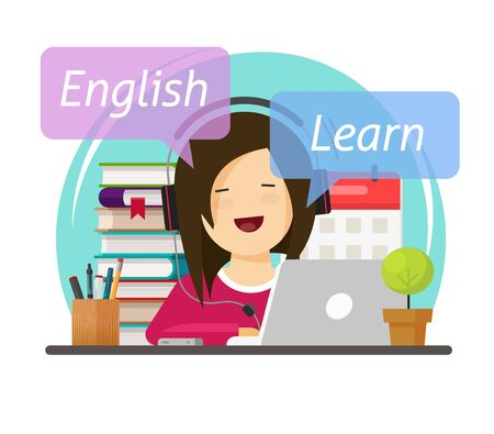 Person student leaning or studying English language online on laptop computer sitting on table desk workplace in headphones vector flat cartoon illustration, character educating school courses design