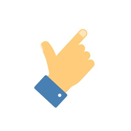 Index pointer finger hand icon or thumb showing gesture symbol isolated vector flat cartoon