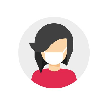 Medical face mask on woman person vector icon flat cartoon illustration, female character protected with medicine surgery mask isolated sign modern design pictogram