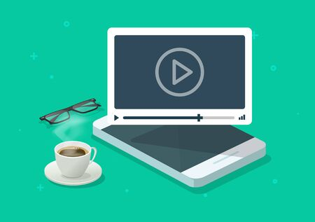 Online video webinar watching on mobile phone working desk or smartphone web courses or tutorial vector flat cartoon illustration, movie or film playing concept isometric modern