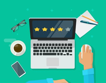 Review rating testimonials online on laptop computer workplace or customer evaluate testimony feedback experience concept desk top view vector flat cartoon, person asses rate reputation stars on pc Banco de Imagens - 144041361