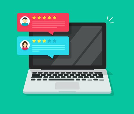 Customer review rating testimonial notices on laptop computer or pc with reputation rank online messages vector illustration flat cartoon isometric style, client testimonials, experience or feedback