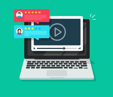 Video content review testimonials online on laptop computer or feedback and reputation rate chat evaluation on pc vector flat cartoon, internet webinar or web video player with rating survey image