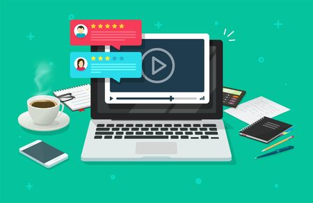 Video webinar content review comments testimonials feedback online on laptop computer or pc reputation rate chat evaluation desk vector flat, internet or web video player with rating survey image