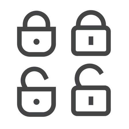 Padlock or lock icon vector open and closed line outline art isolated symbol, unlocked and locked padlocks secured or protected sign clipart image