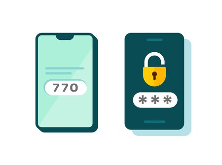 2fa icon vector password secure login authentication verification flat cartoon or sms push code messages symbol on smartphone mobile phone isolated pictogram, two multi factor cellphone clipart Illusztráció