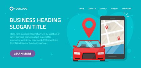 Car sharing rental via mobile phone service online website template layout design or car sharing club for automobile rent web site landing page vector flat illustration, internet taxi cab banner image