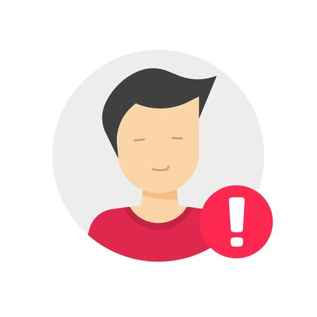 User profile caution or important notice identification vector icon, personal fake account or fraud risk data alert notification vector flat male man symbol, web person id safety message image  イラスト・ベクター素材