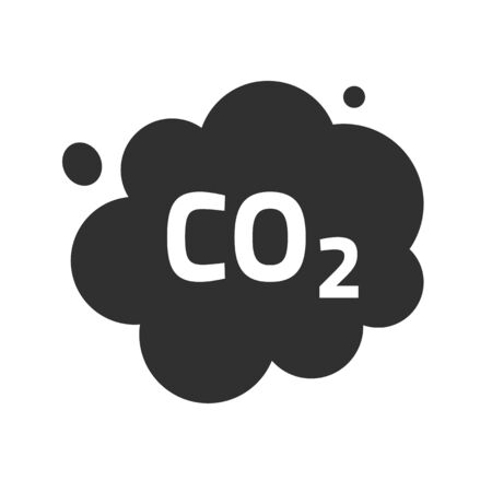 Carbon CO2 pollution emission cloud vector icon, dioxide smoke exhaust bubble flat symbol illustration design isolated on white background image clipart