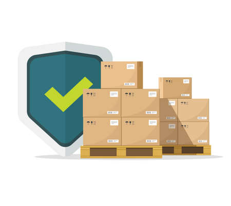 Shipping insurance for freight cargo delivery and parcel package transportation protection coverage guaranty care vector flat illustration, concept of logistics courier service guard shield image