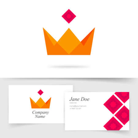 Crown king royal icon vector or premium quality golden award idea on business visiting card template flat cartoon illustration symbol, concept of knight jewelry modern geometric image