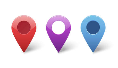 Map pin gps pointer markers for destination location vector icons set or position points violet blue red color tags isolated clipart image Ilustracja