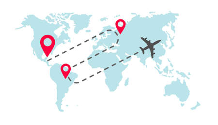 Plane global world map flight way path trace with arrival pin pointer markers or track airplane worldwide route destination vector flat cartoon illustration, dashed line of fly trip image