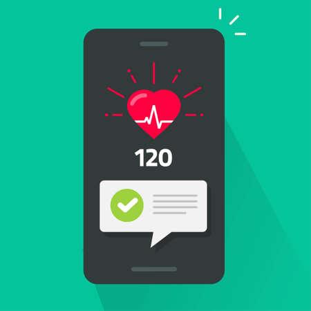Heart health check test on mobile phone app tracker vector, smartphone heartbeat good pulse cardiogram line flat cartoon illustration, medical cardiology beat cellphone application image