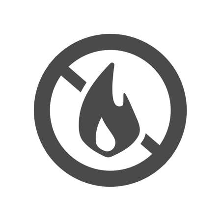 Fire prohibition hazard risk sign icon and stop flame ignition risk warning notice area pictogram vector flat illustration isolated black and white monochrome image clipart
