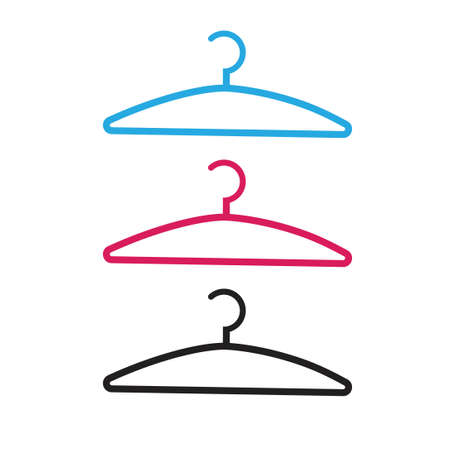 Clothes hanger vector icon isolated line outline style illustration, dress coat hanging hook clipart image 일러스트