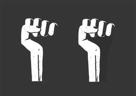 Revolution hand fist up as freedom power vector flat, propaganda rebel protest sign, radical strike concept, victory fight punch cartoon grunge black white illustration, rights conflict aggressive