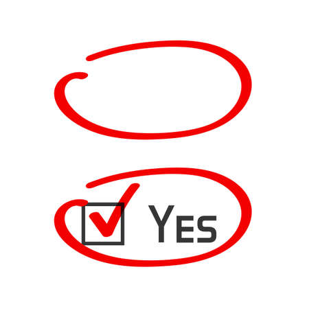 Marker highlight circle correct answer handwritten vector stroke, oval right choice pen drawing highlighter red color, important message note, copy space frame blank empty, correction or reviewing
