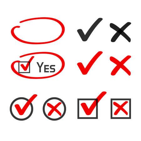 Yes no check box list marker ticks, felt tip pen highlight vector, handwritten x close cross, doodle poll vote checkmark.