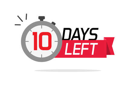 10 days left or to go sale countdown vector symbol, ten number remaining special offer promotion icon banner for time discount announcement marketing element badge sign image