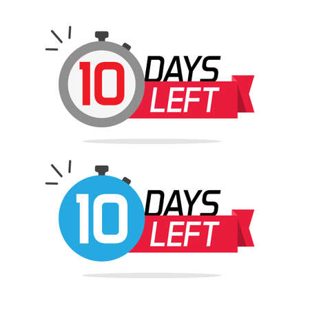 10 days left or to go sale countdown  icons set, ten number remaining special offer promotion symbols banner for time discount announcement marketing element badge sign blue red color