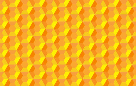 Honeycomb hexagon abstract seamless  3d background pattern illustration, yellow orange geometric symmetric structure repeated backdrop grid template