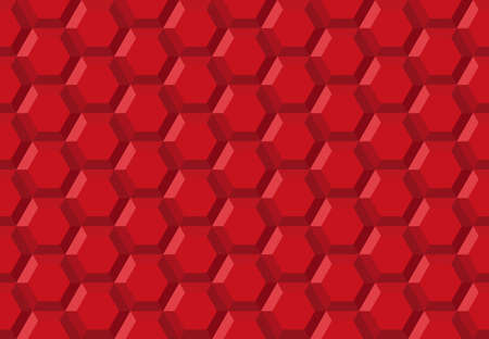 Honeycomb hexagon robot technology abstract seamless 3d background illustration pattern red, geometric symmetric  shaped structure repeated backdrop grid template