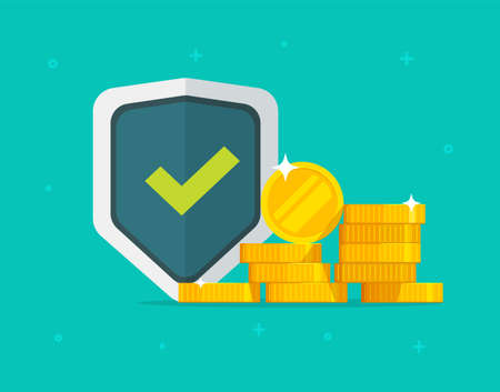 Financial insurance guarantees money gold protection, cash investment secure safety care warranty shield  flat cartoon, currency trust or wealth risk, deposit banking coverage savings image
