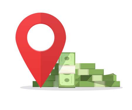 Money finance place pointer marker, cashier atm changer or bank location destination sign vector illustration, idea of financial position symbol modern design concept image