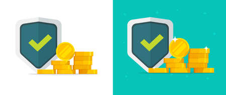 Financial insurance guarantees money gold protection set, cash investment secure safety care warranty shield  flat, currency trust or wealth risk, deposit banking coverage savings concept image 일러스트