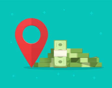 Money finance place pointer marker isolated on color background, cashier atm changer or bank location destination sign vector illustration, idea of financial position symbol modern design image