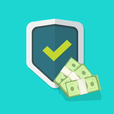 Financial insurance guarantees money protection shield icon, cash investment secure safety care warranty flat, currency trust, wealth risk, deposit banking coverage savings concept image
