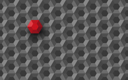 Honeycomb polygon technology structure abstract with red unique different hexagon integrated part as unique another solution concept vector 3d illustration, digital module hexagonal pattern image