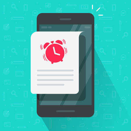 Reminder event deadline info message notice vector on mobile phone, urgent to do or wake up notification with text on smartphone, cellphone speech bubble alert flat cartoon icon modern design image